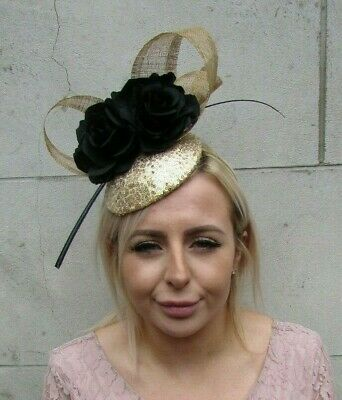 Black and Gold Rose Flower Feather Hat Hair Fascinator Wedding Sequin Races 0143