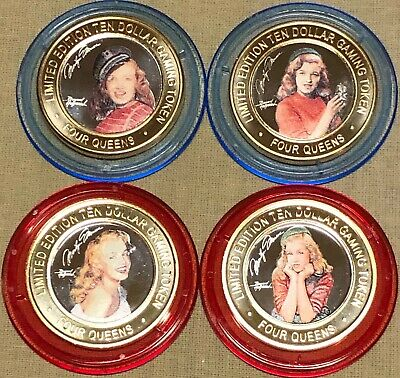 2019 Marilyn Monroe Four Queens Red & Blue cap set 4 Silver Strike Tokens
