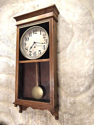 Vintage Antique The Sessions Wall Clock With Oak Case And Brass Pendulum