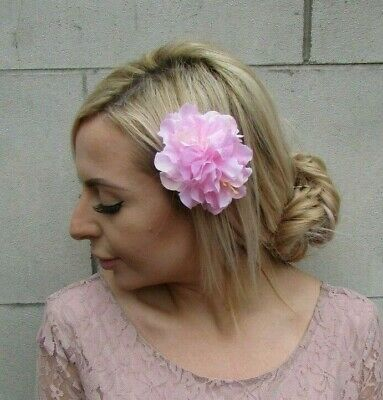 Double Baby Pink Light Pink Peony Flower Hair Clip Floral Fascinator Rose 0145