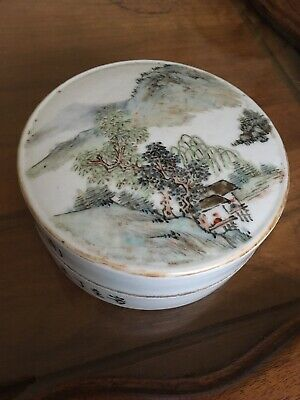 Vintage Chinese Porcelain Famille Rose Aound Box