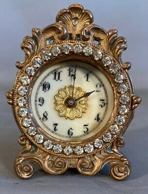 PETITE Antique FRENCH ART NOUVEAU Style JEWELED & BRONZED Old DESK Shelf CLOCK