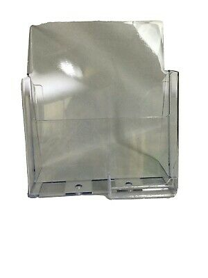 """Acrylic Premium Brochure &  Business Card Holder for 8.5"""" Booklets - Office Desk"""