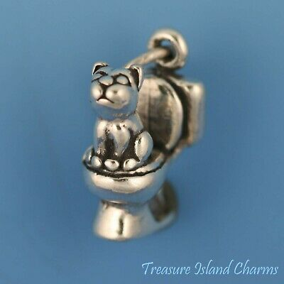 Cat Kitten Sitting on Toilet 3D 925 Solid Sterling Silver Charm MADE IN USA