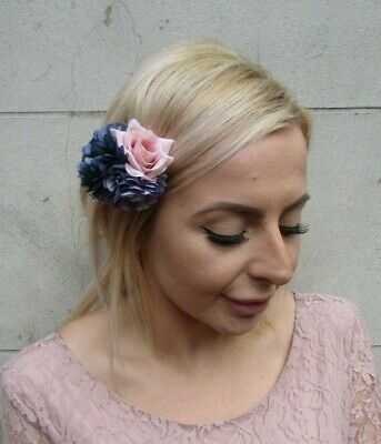 Navy Blue Blush Pink Nude Lavender Triple Flower Hair Clip Fascinator Rose 0148