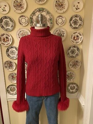 Saks Fifth Avenue Red Cashmere Cableknit Turtleneck Sweater Fox Fur Cuffs M