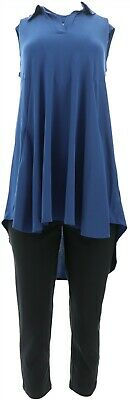 Women with Control Slvless Como Tunic & Crop Pants Set Blueberry 2X NEW A305908