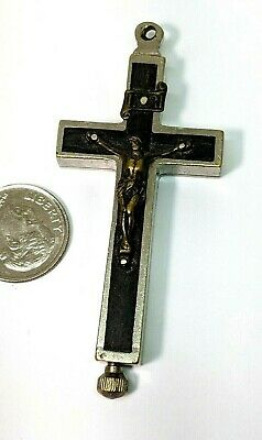 Large Old Vintage Antique Reliquary Relic Type Cross Crucifix Pendant Germany