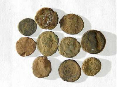 10 ANCIENT ROMAN COINS AE4 MINIME - Uncleaned and As Found! - Unique Lot M07907
