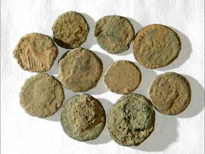 10 ANCIENT ROMAN COINS AE3/4 - Uncleaned and As Found! - Unique Lot X08804