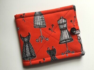 Needlecase fabric Red dress forms Felt page inside Gift Present Needles New