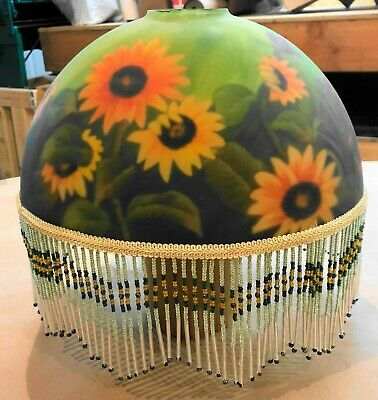 Antique Hand Painted Floral Glass Lamp Shade Beautiful With Tassels