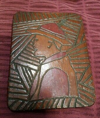 Vtg Hand Carved Boy Scout/Explorer Wooden Plaque With Highlighted Stained Unique