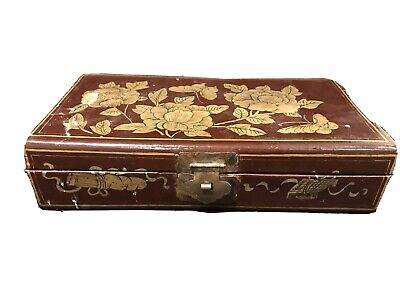 ANTIQUE VINTAGE CHINESE Hand painted Wooden Trinket BOX Gold Brown