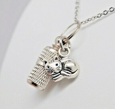 Cat Cremation Urn Jewelry, Kitty Memorial Capsule Urn Necklace, Feline Pendant