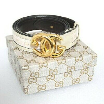 hed348 Gucci GG buckle vintage calf leather belt gold color / beige size 95