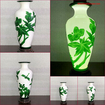 Chinese Carved Beijing Peking Glass Vase Dragonfly Flowers with Wood Stand