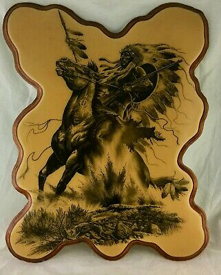 Native American Indian Warrior Man On Horse Wood Plaque Wall Hanging Signed