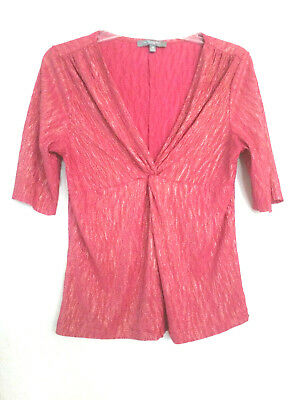 NY Collection Pink Gold Metallic Top Blouse Shirt CUT Short Sleeve Women's Sz PM