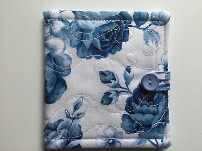 needlecase fabric Blue/ white floral Felt page inside Gift Present Needles Book