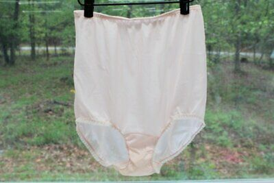 Vintage Texsheen Pink Nylon Granny Panty full Coverage Brief Panties Lace 6 M
