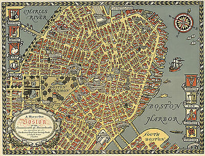 1929 Pictorial Map Old Boston in the Commonwealth of Massachusetts Wall Poster