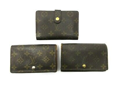 Authentic 3 Item Set LOUIS VUITTON Monogram Wallet PVC Leather 82824