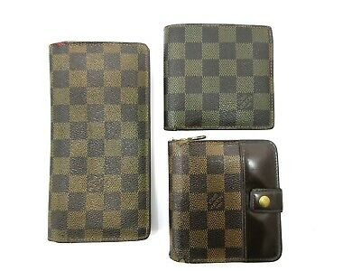 Authentic 3 Item Set LOUIS VUITTON Damier Wallet Long Wallet PVC Leather 82823