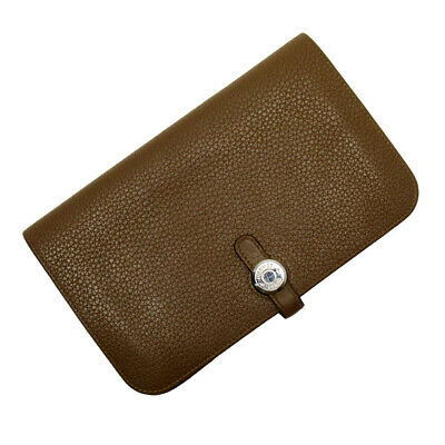 Auth HERMES Square P (2012) Dogon GM Bifold Wallet Brown Togo Leather - h23757d