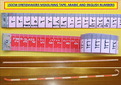 150cm DRESSMAKERS MEASURING TAPE: ARABIC AND ENGLISH NUMBERS...#