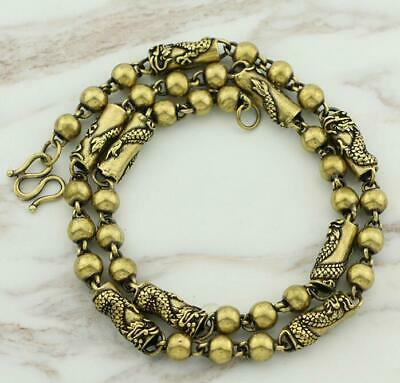 Exquisite China Old Pure Brass Handwork dragon statue collectable necklace /Vb01