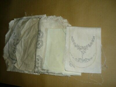 7 x STAMPED  LINEN EMBROIDERY PIECES