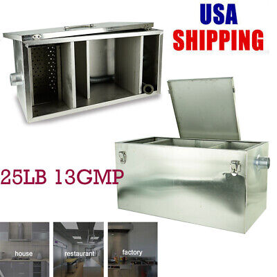 For Commercial 13GPM Gallons Per Minute 25LB Grease Trap Stainless Steel US