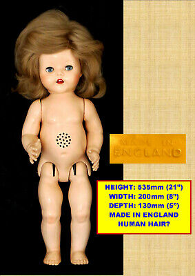 Vintage Pedigree Walker Hard Plastic Prettier Face Walking Doll Made In England