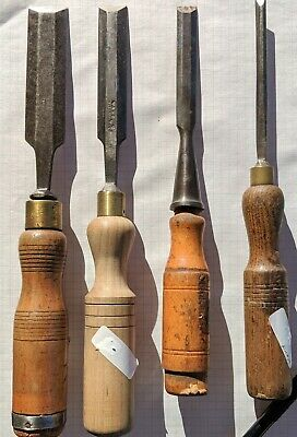 4 Old Bevel Edge Chisels 3 Wards 25.4, 18 & 6.25mm, Swedish 12.5 Woodwork Timber