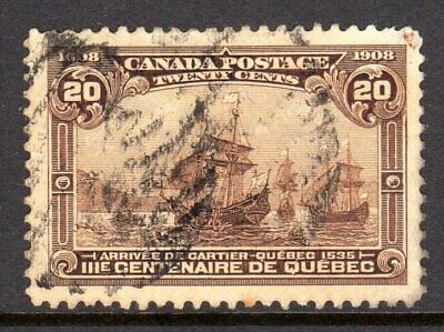 Canada Scott # 103 VF Used 1908 20 Cent Cartier Arrives at Quebec