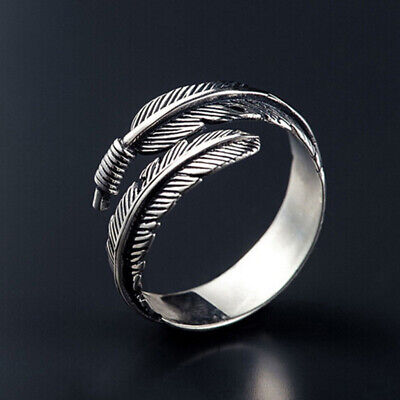 925 Sterling Silver Feather Ring Band Open Finger Fully Adjustable Jewelry UK