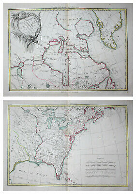 1776 North America USA United States Canada continent map 2 maps Rigobert Bonne