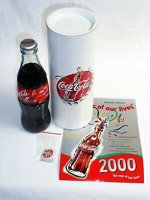 """Coca Cola """"Year Of Our Lives"""" Bottle Year 2000 With Pin & Certificate"""