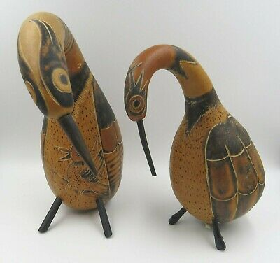 Pair of Peruvian Bird Gourds Maracas Hand-Carved Decorated Folk Art