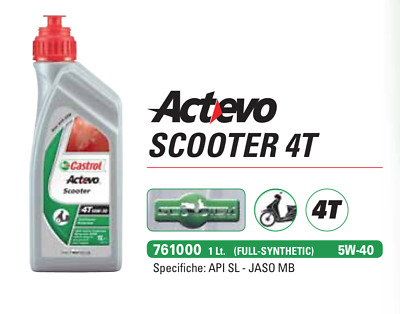 Castrol ACT-EVO Full Synthetic 5W-40 1L Olio per Motori Scooter 4T