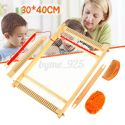 Traditional Wooden Weaving Loom Machine Pretend Play Toy Kids Knitting Craft ❤