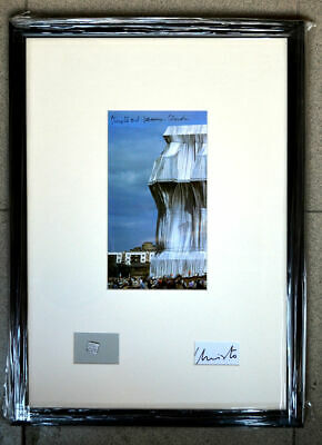 Christo& Jeanne Claude Reichstag XXXL card hand signed framed 49x36 cm BIG!