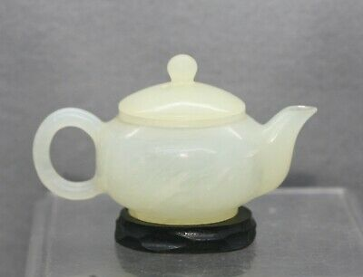 Delicate Antique Chinese Translucent White Jade Stone Decorative Teapot On Stand