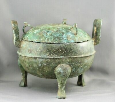 Superb Antique Chinese Solid Bronze Lidded Pot Vessel Possibly 1700s