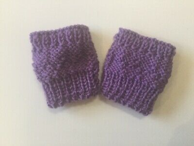 Baby mittens Fingerless Purple Mauve Girl mitts Merino Wool 4 ply Handknit New