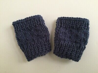 Baby mittens Fingerless Blue Boy/ Girl mitts Wool 4 ply Handknit New