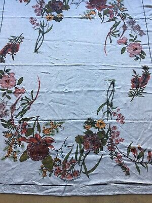 Vintage Australian Wildflowers Linen Tablecloth