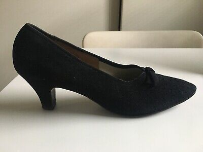 Vintage 40's Black Suede Heeled Shoes Rockabilly Pin-up Dita Size 7.5A