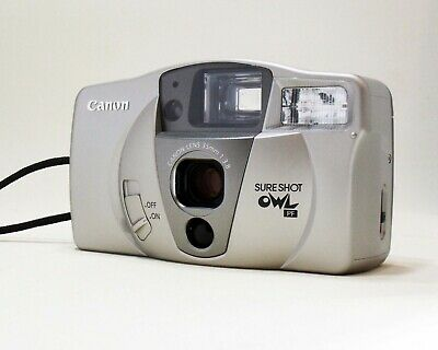 CANON OWL PF 35mm Point & Shoot Film Camera Large viewfinder+case.